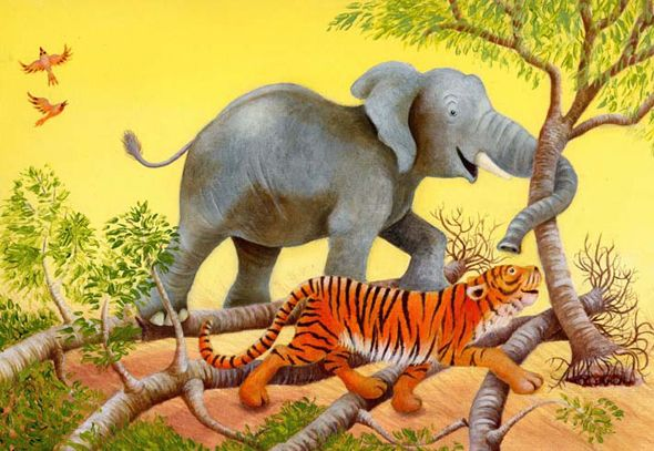 Elephant and Tiger...my kids' favorite animals.