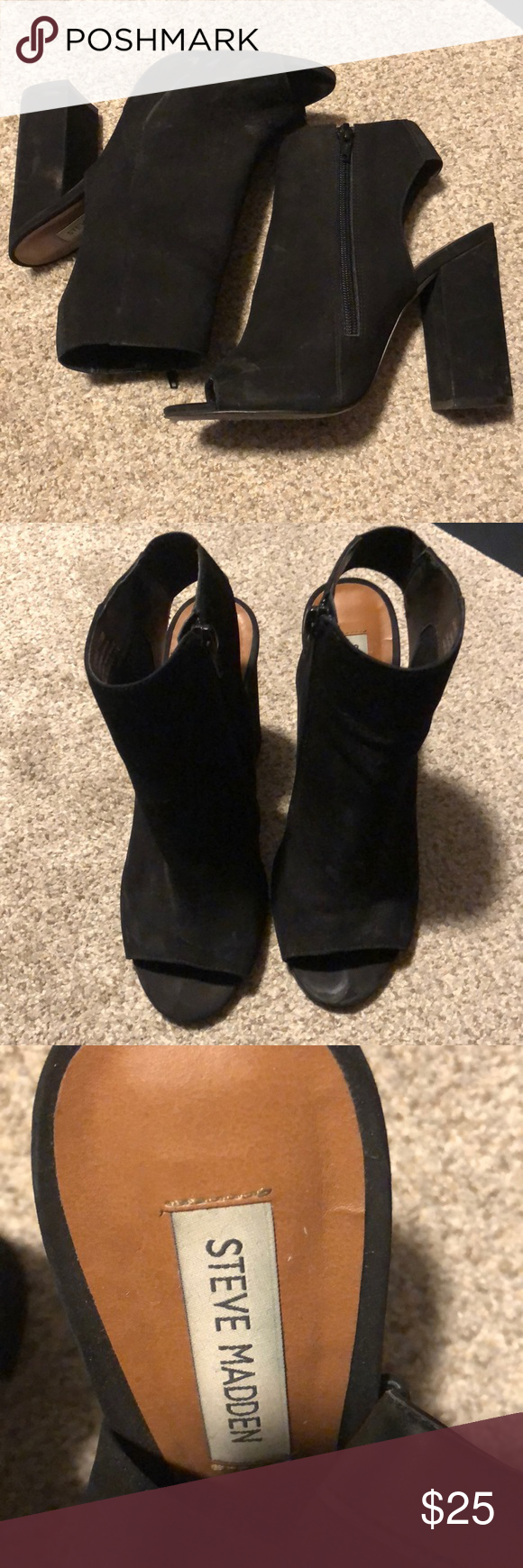 47ce795f62b Steve Madden Camile Peep-toe Heels Good condition Steve Maddens. Black  suede. Has some minor scuffing that s totally unnoticeable once  on-discoloration is ...