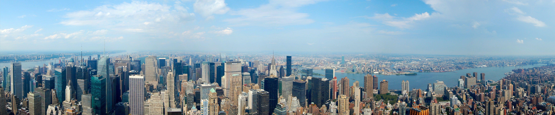 New York City Triple Screen Wide Angle Cityscape Manhattan Skyscraper 5k Wallpaper Hdwallpaper Wallpaper Pictures Dual Monitor Wallpaper Panoramic Photo
