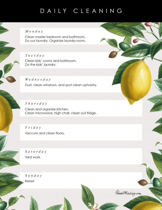 Pretty Printable Daily Cleaning List Weekly Cleaning Weekly
