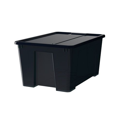 samla box mit deckel schwarz 57x39x28 cm 45 l ikea ikea pinterest. Black Bedroom Furniture Sets. Home Design Ideas
