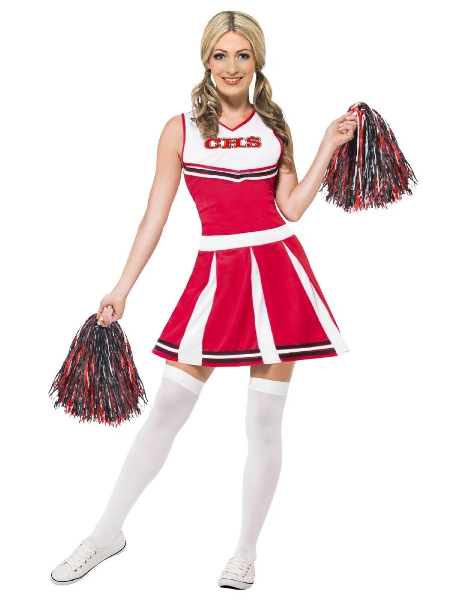 "42"" Red and White Cheerleader Women Adult Halloween"