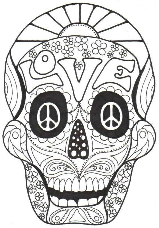 Day of the dead and sugar skull coloring bing images