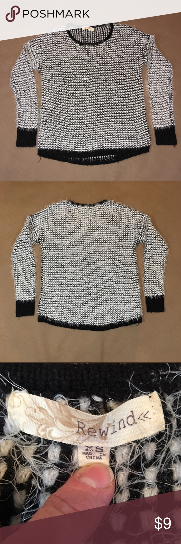 Women S Rewind Sweater Rewind Sweater Size Women S Xs Color Black And White Soft Warm And Fuzzy Item Pre Owned And In Very G Women Sweaters Clothes Design [ 1740 x 580 Pixel ]