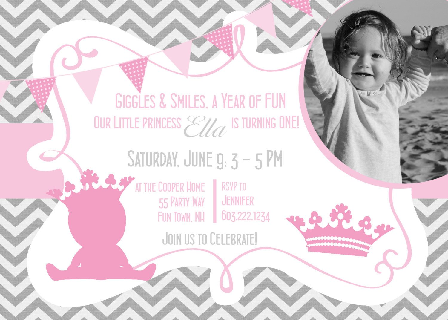 Princess Birthday Party Invitation Printable Chevron Pink Gray ...