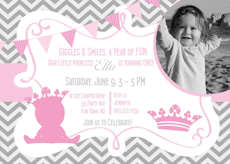 Princess Birthday Party Invitation Printable Chevron Pink