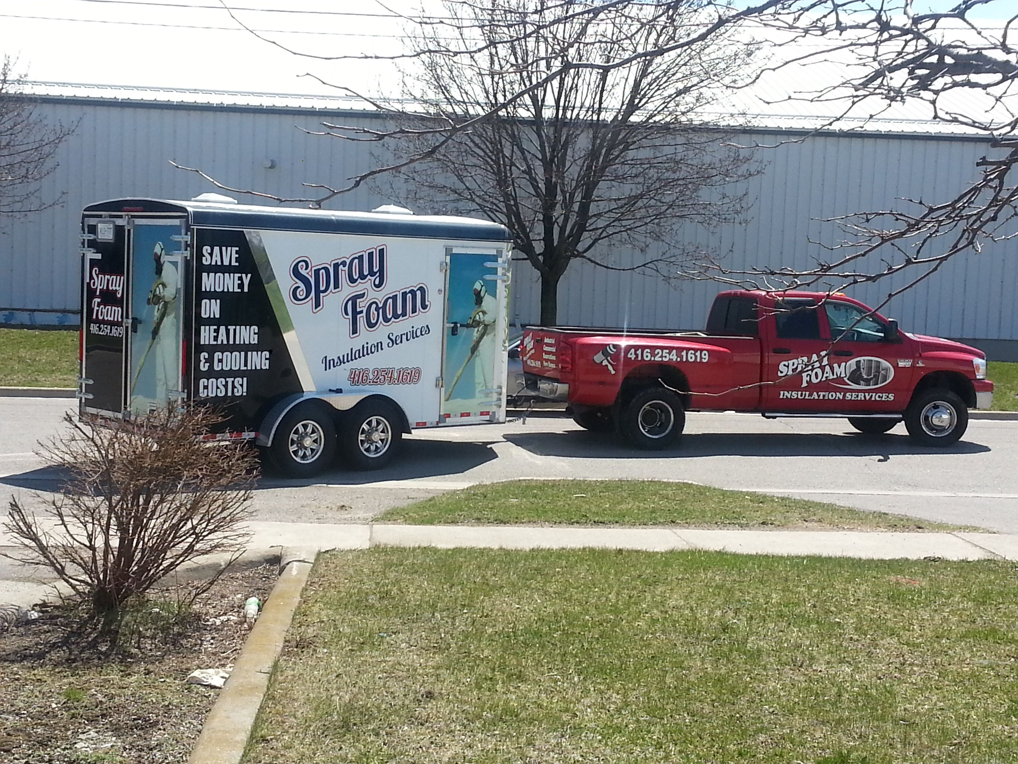 Full Trailer Wrap To Match Existing Spray Foam Wrap On Truck Consistent Messaging And Branding Uniform Look Completed By Speedpro I Car Wrap Trucks Oshawa [ 2448 x 3264 Pixel ]