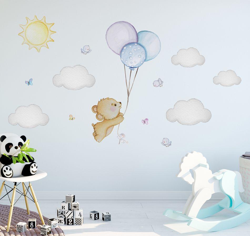 Bear Wall Decal Teddy Bear Nursery Wall Decal Balloon Nursery