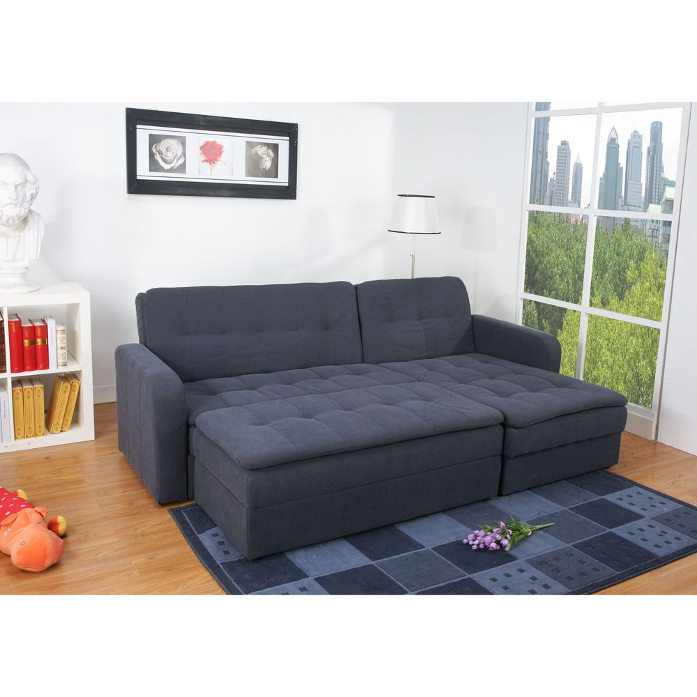 Denver Steel Finish Double Ottoman Sectional Sofa Bed