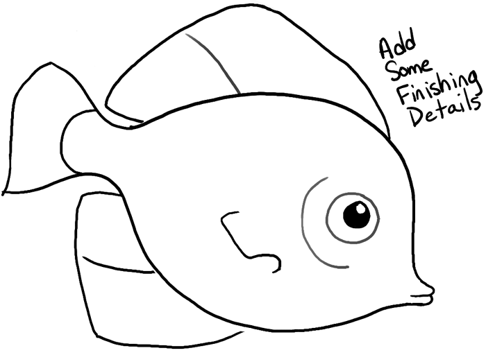 How To Draw A Cute Fish Cartoon With Simple Steps For Kids Cartoon Fish Fish Drawings Cute Fish