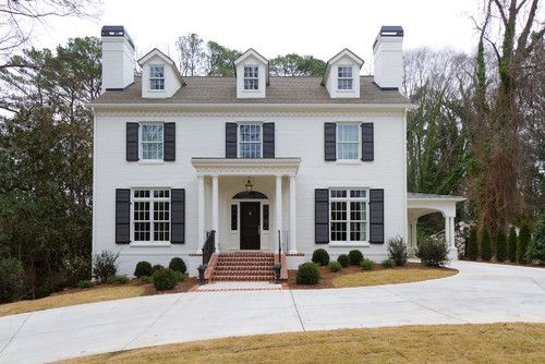 Painted Brick Houses What Color To Paint The This Of Clic House Was In Benjamin Moore White Dove Photo Credit Burke Coffey