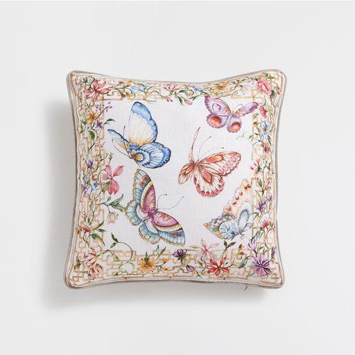 Butterflies Linen Cushion Cover Minder Nakis Dugumleri Kanavice