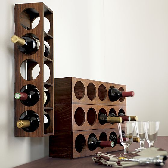Shesham Wall Mount Stacking Wine Rack Set Of Two In Food Containers, Storage