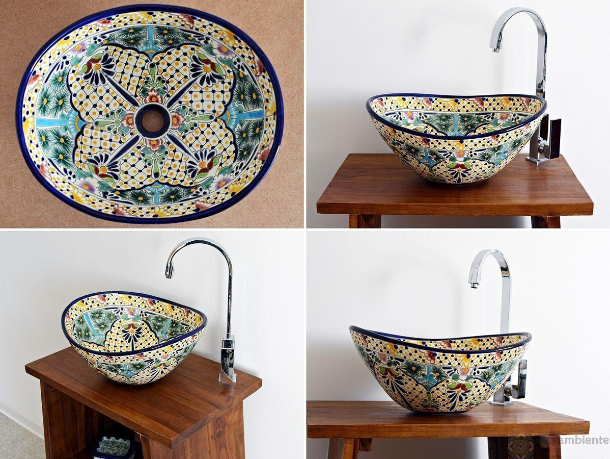 Bunte Design Waschbecken aus Mexiko oval, MEX 7 von ...