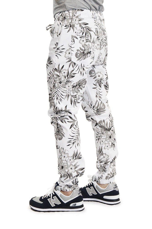 Victorious Men S Tonal Floral Print Twill Jogger Pants Jg848