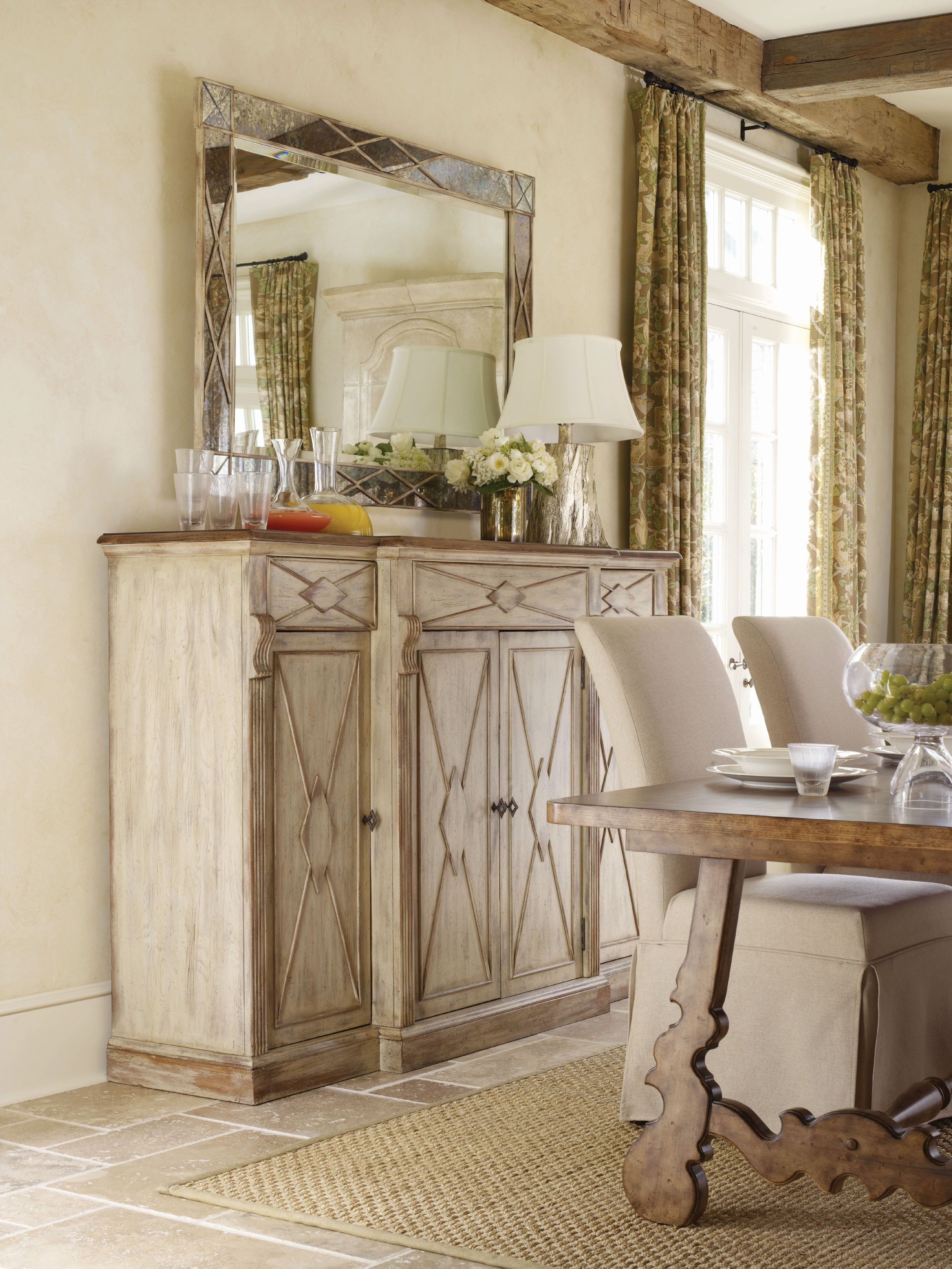 77 X 21 X 50 Hooker Furniture Sanctuary 4- Door 3-Drawer Credenza - & 77 X 21 X 50 Hooker Furniture Sanctuary 4- Door 3-Drawer Credenza ...