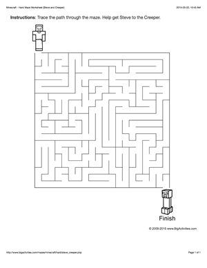 Minecraft maze worksheet with Steve and a creeper  4 levels of