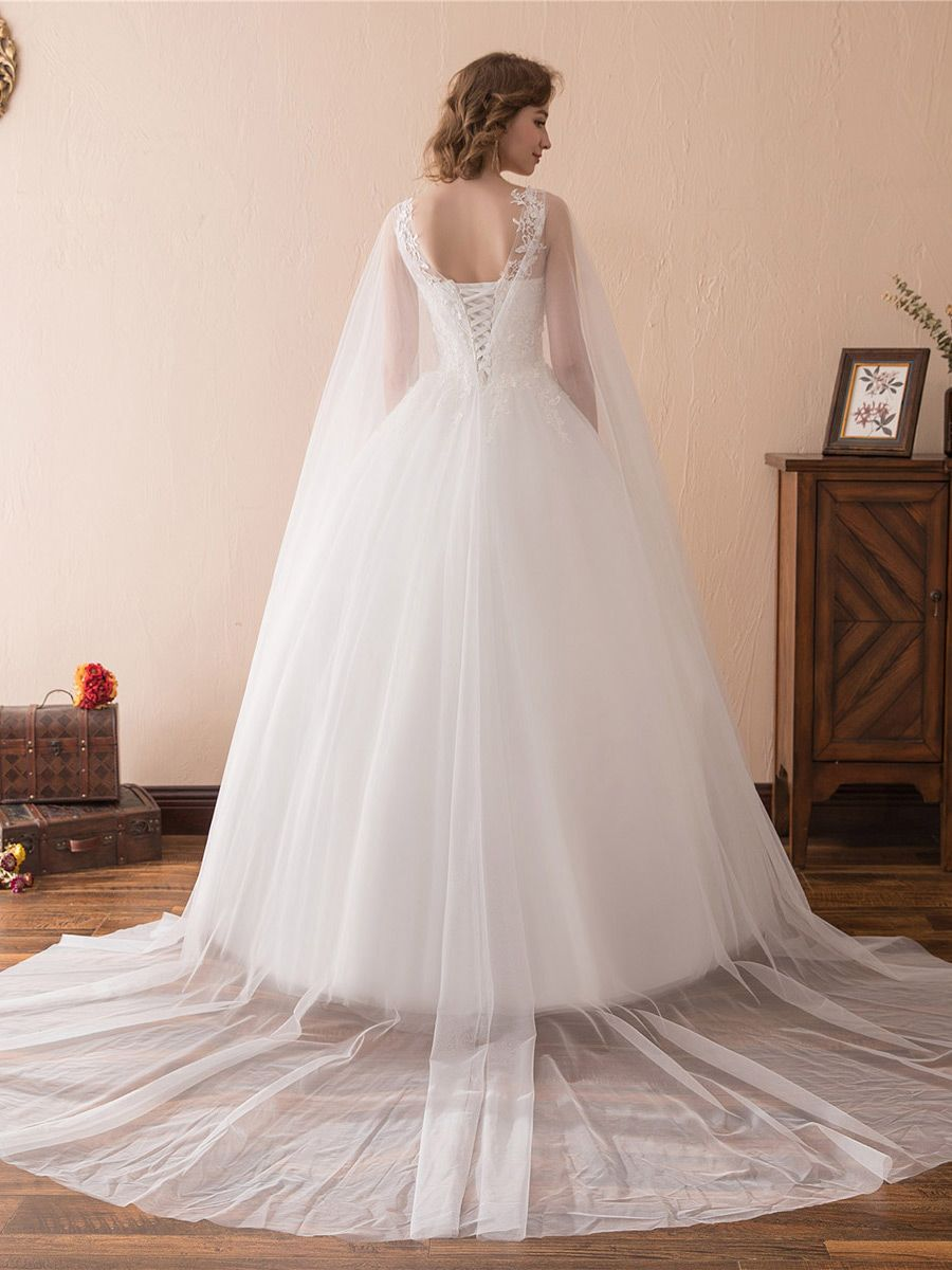Simple Tulle Lace Ballroom Wedding Gowns With Cape Train #CH6682 ...