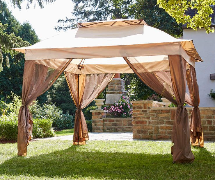 Wilson Fisher Tan Pop Up Canopy With Netting 11 X 11 Pop