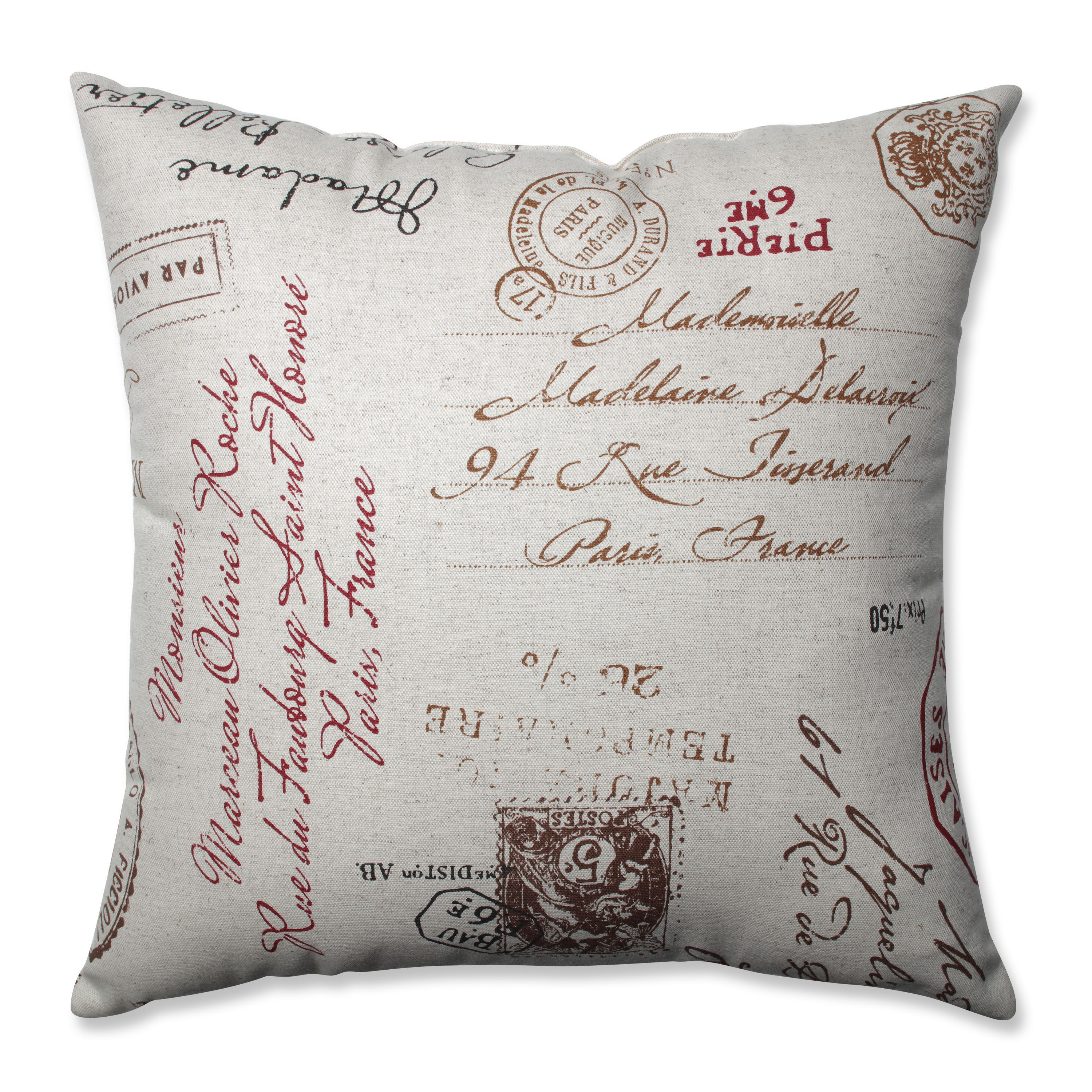 Pillow Perfect Linen Red French Postale 18 inch Square Throw