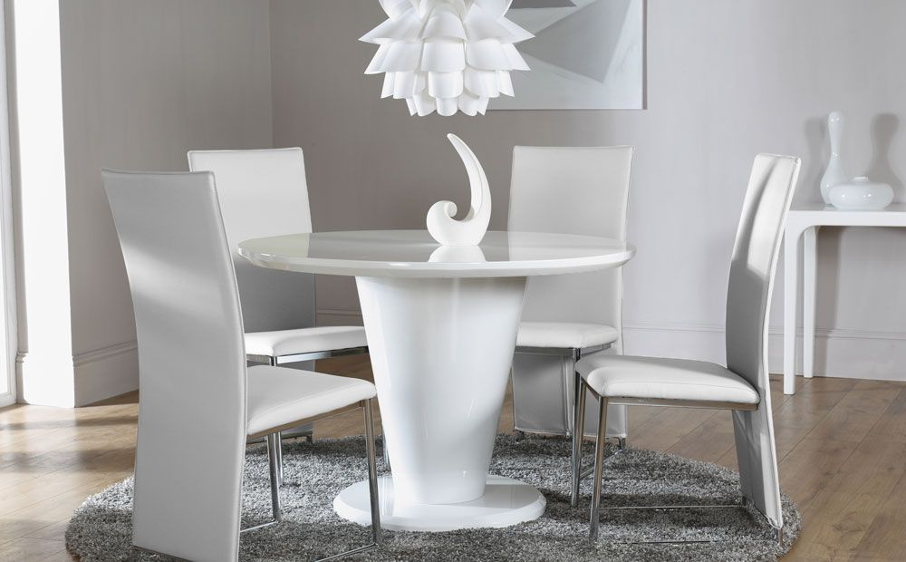 Paris White High Gloss Round Dining Table And 4 Chairs Set Athens
