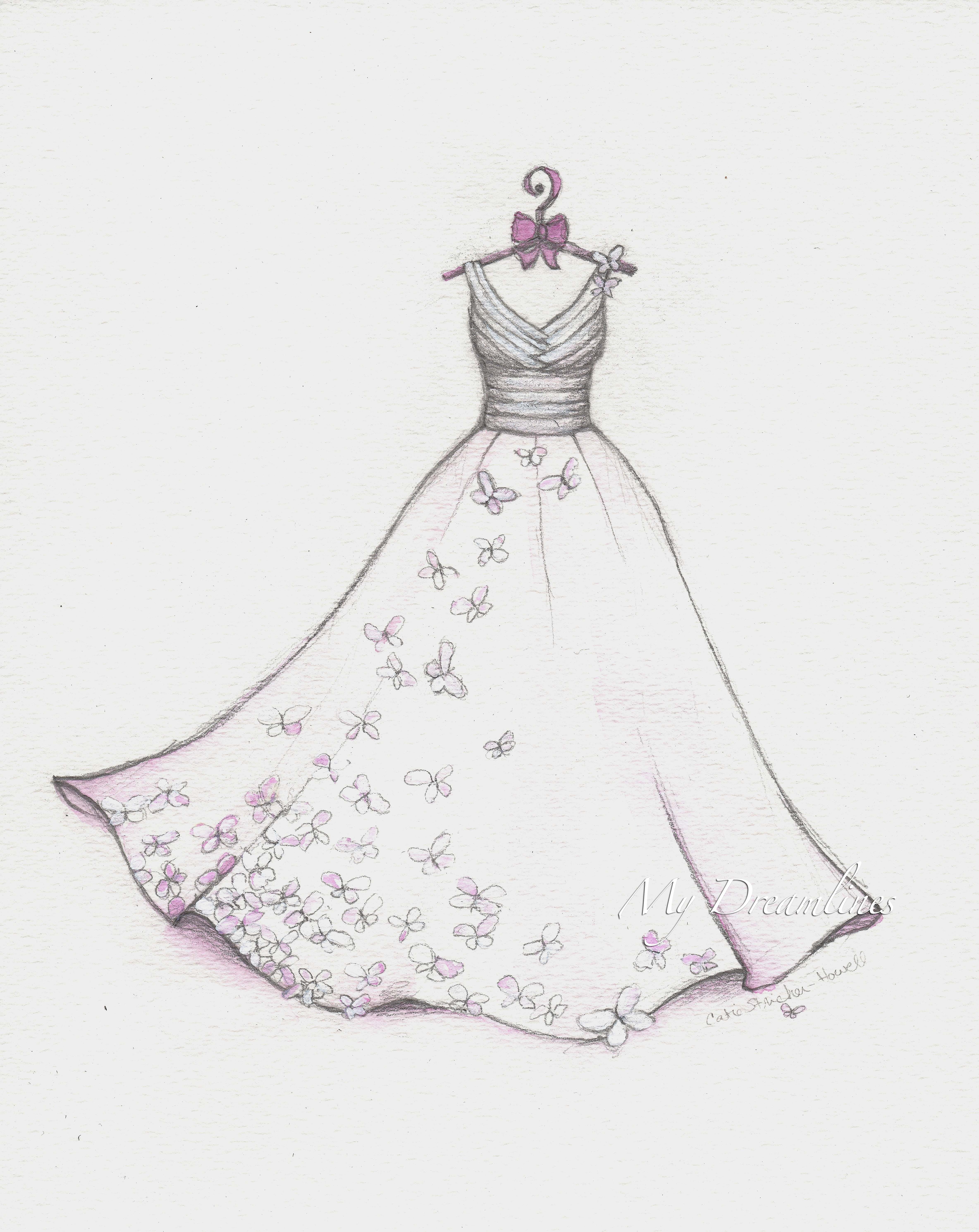 Wedding dress sketch for st anniversary a gift from him to her on