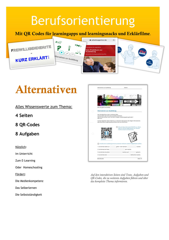 Berufsorientierung Alternativen Fsj Eq Bvb Schule Unterrichtsmaterial Im Fach Arbeitslehre Berufsorientierung Berufe Unterrichtsmaterial