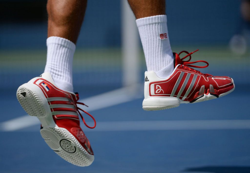 Novak Djokovic sports white shoes with the Serbian flag and red and white  accents. | Strut the Court | Pinterest | Serbian flag and Tennis
