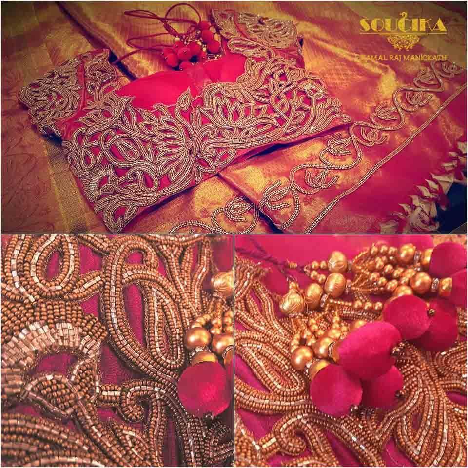 #Sareeblouse #soucika #bangalore #designersaree #embroidery #ethnicwear #saree…
