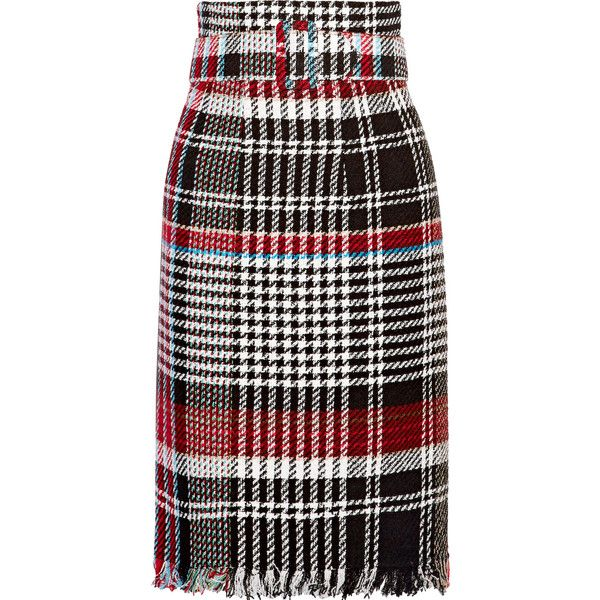b3328f44c Oscar de la Renta Belted fringed checked cotton-blend tweed skirt ($1,290)  ❤ liked on Polyvore featuring skirts, bottoms, black, colorful pencil skirt,  ...