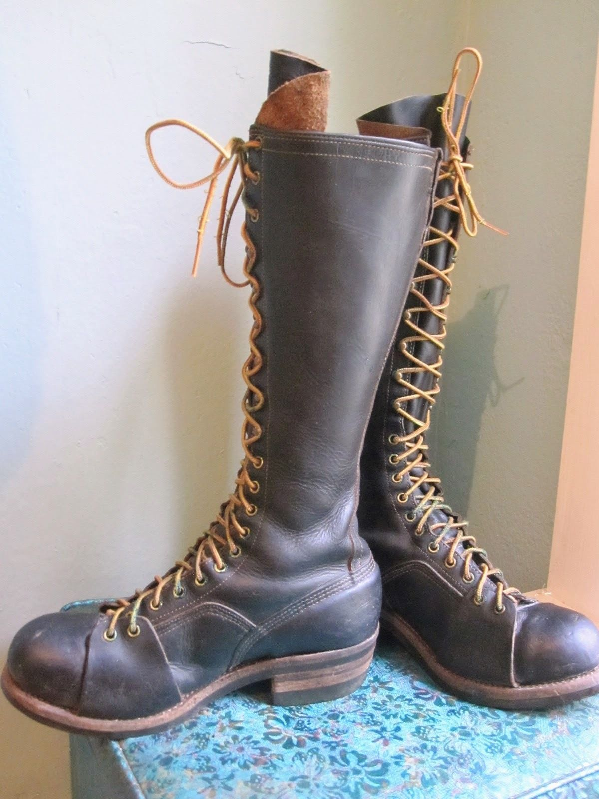 049c01d0fc5f VTG RARE 1920s-50s Bone-Dry Tall Steel Toe Work Boots! TACOMA WA