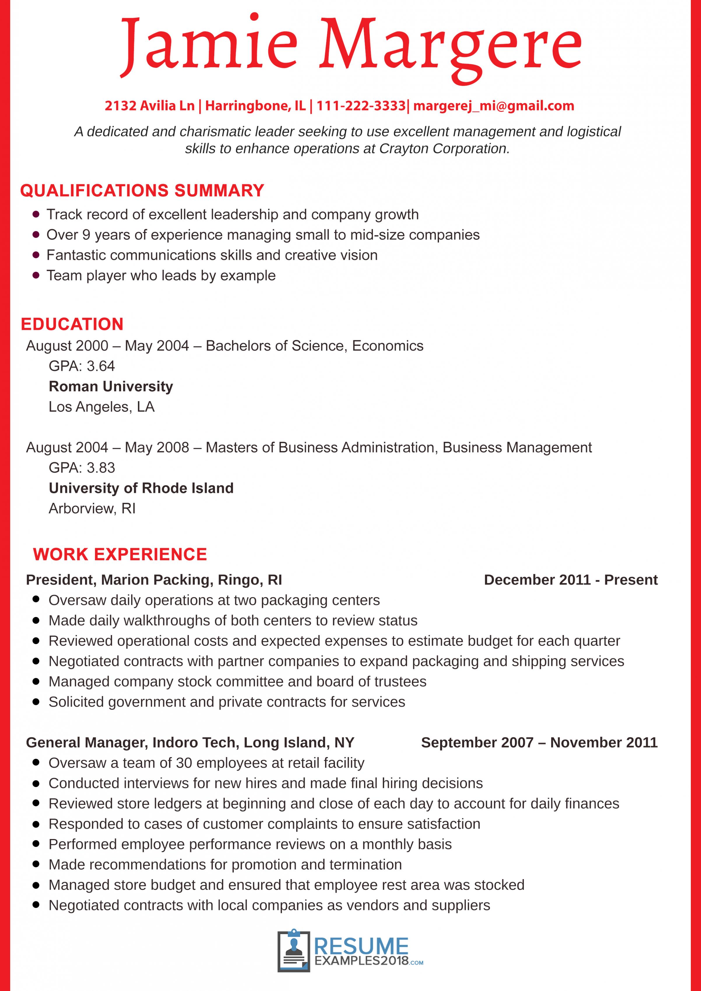 10 Primary Resume Examples 2018