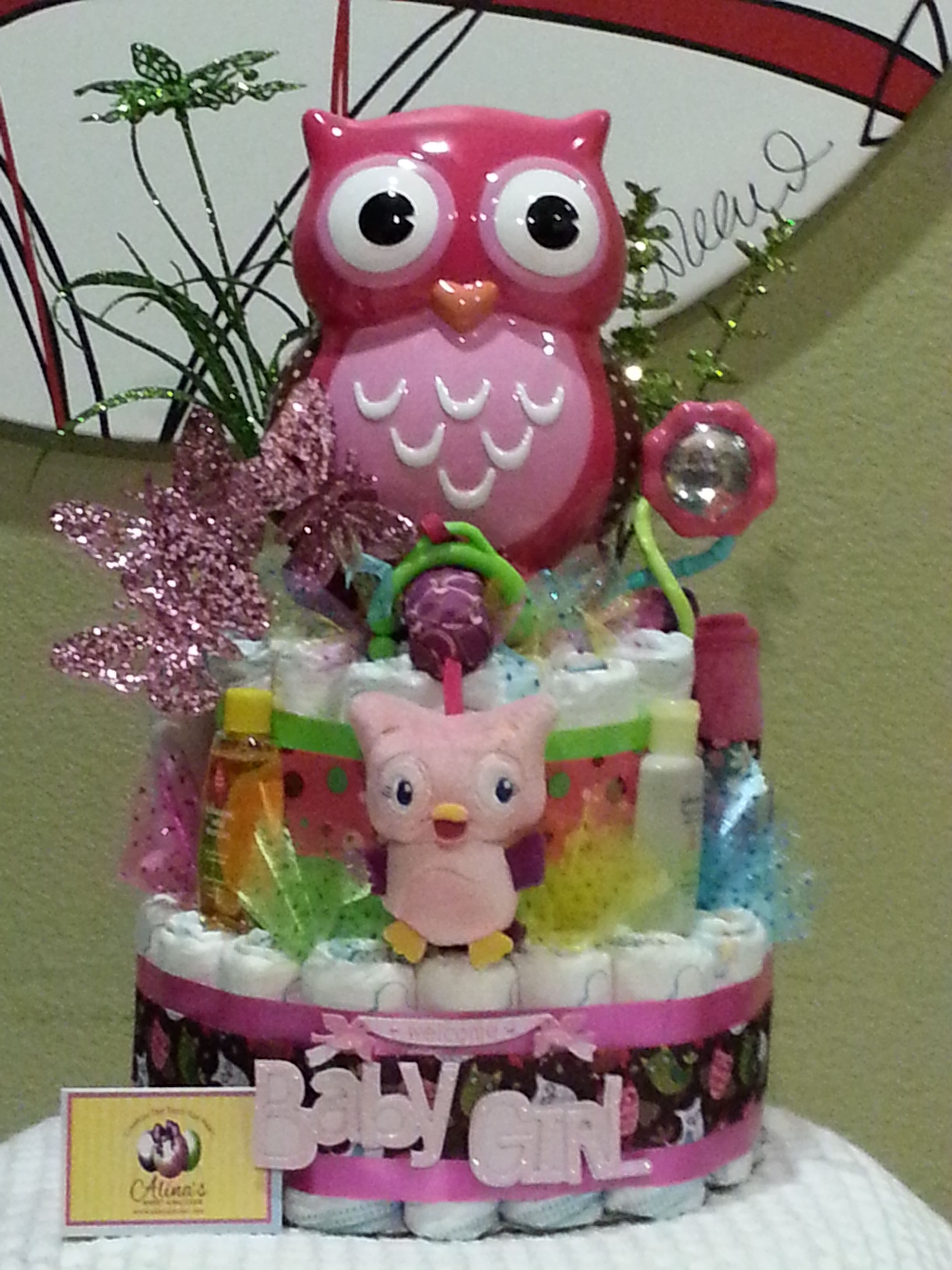 My first owl bank baby girl diaper cake stylish modern great my first owl bank baby girl diaper cake stylish modern great for baditri Gallery
