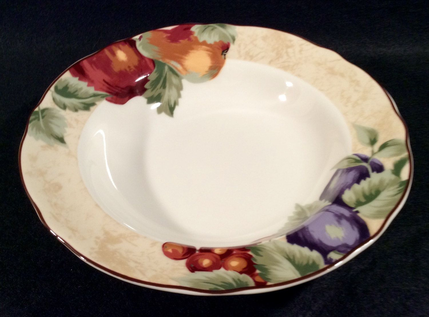 Noble Excellence NAPA VALLEY Large Rim Soup Bowl Dinnerware Plums ...
