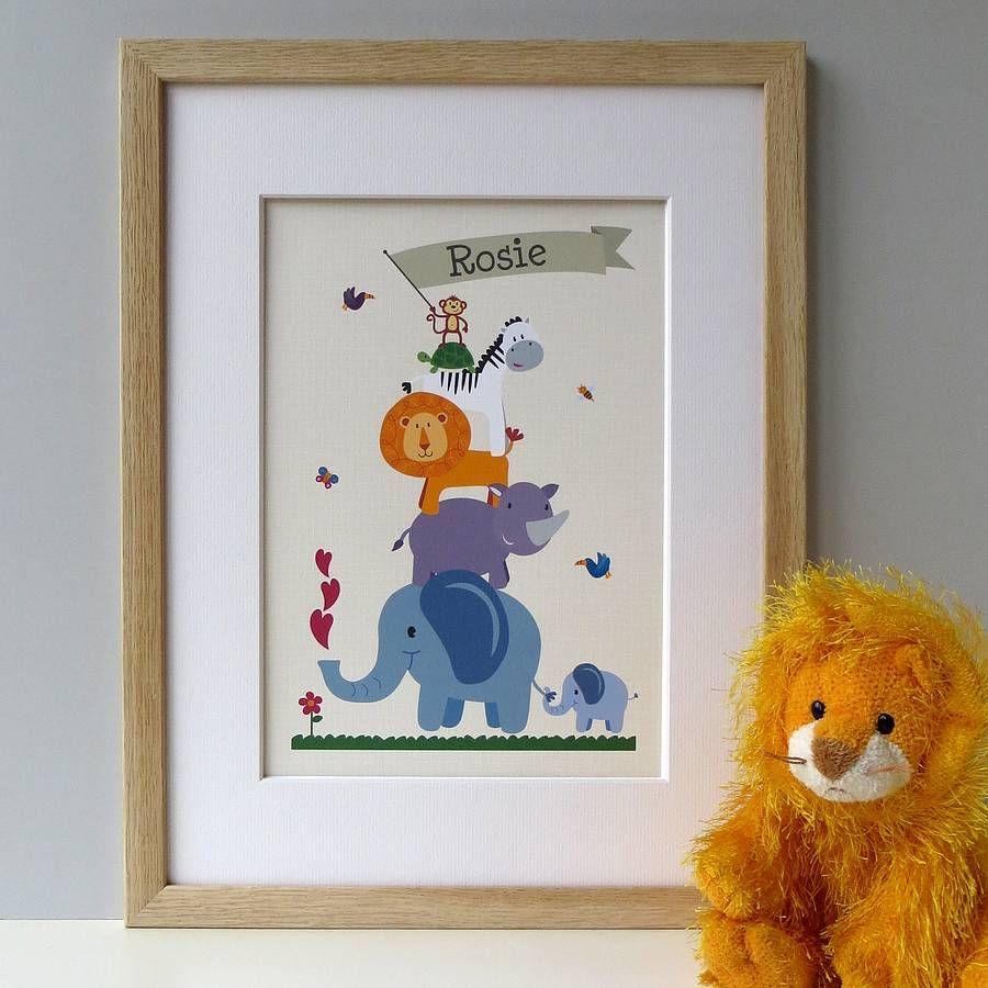 Personalised Children S Animal Nursery Print From Notonthehighstreet