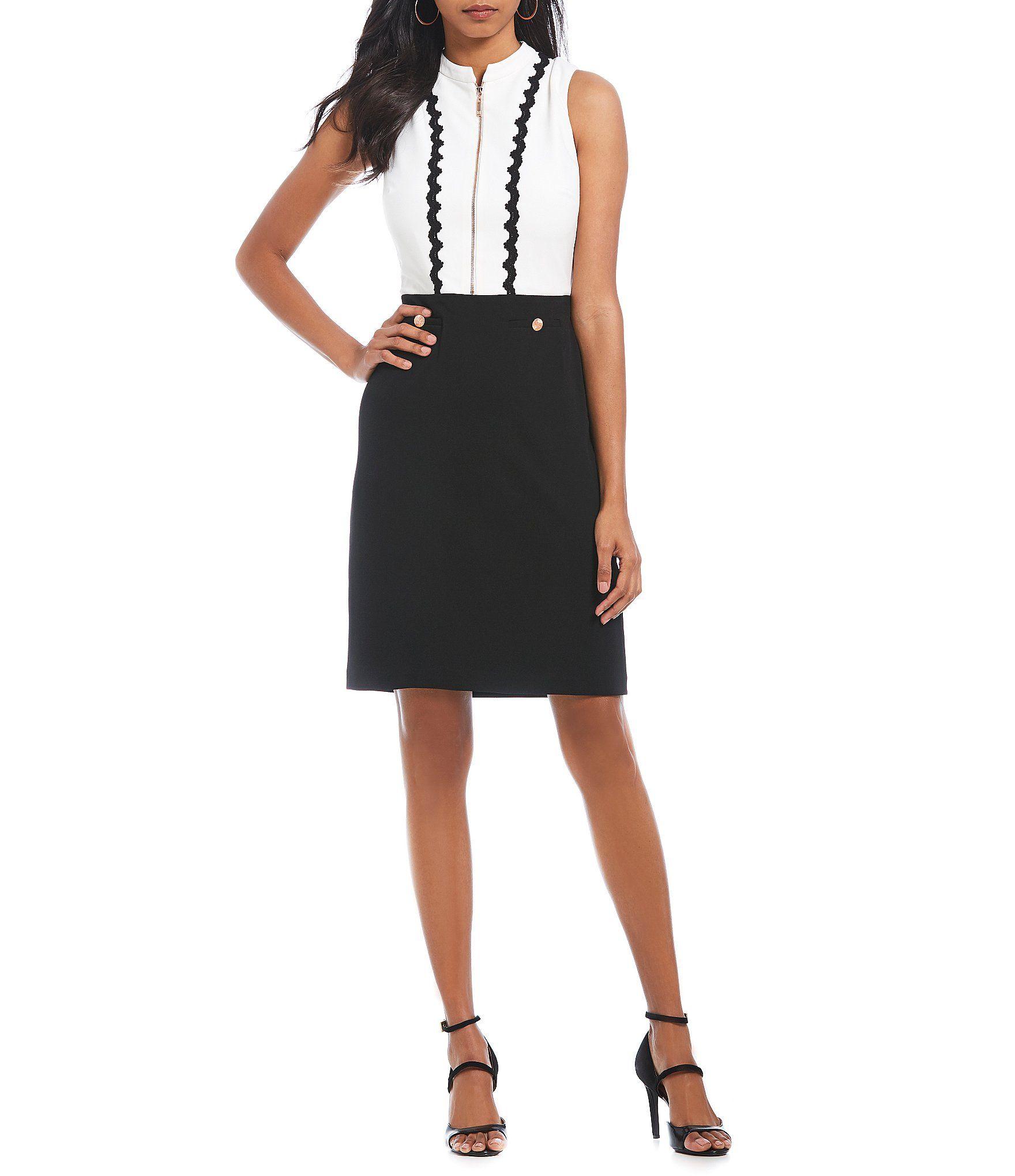 6f53ef50436 Shop for Ivanka Trump Zip Front Mandarin Collar Scalloped Lace Trim Sheath  Dress at Dillards.com. Visit Dillards.com to find clothing