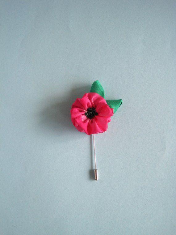 Poppy lapel pin brooch flower lapel pin - Gift under 15 Poppy brooch