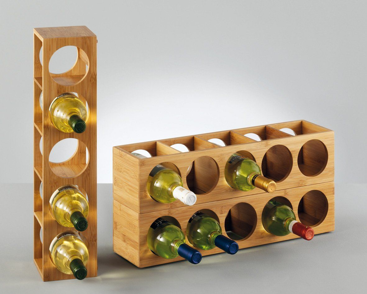 Zeller 13565 Wine Rack 13 5 X 12 5 X 53 Cm Bamboo Amazon Co Uk Kitchen Home Wine Rack Wine Shelves Wine