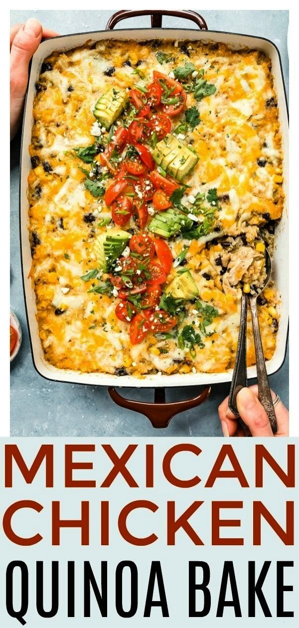 Mexican Chicken Quinoa Casserole -  This quick and easy Mexican Chicken Quinoa Casserole is a healt