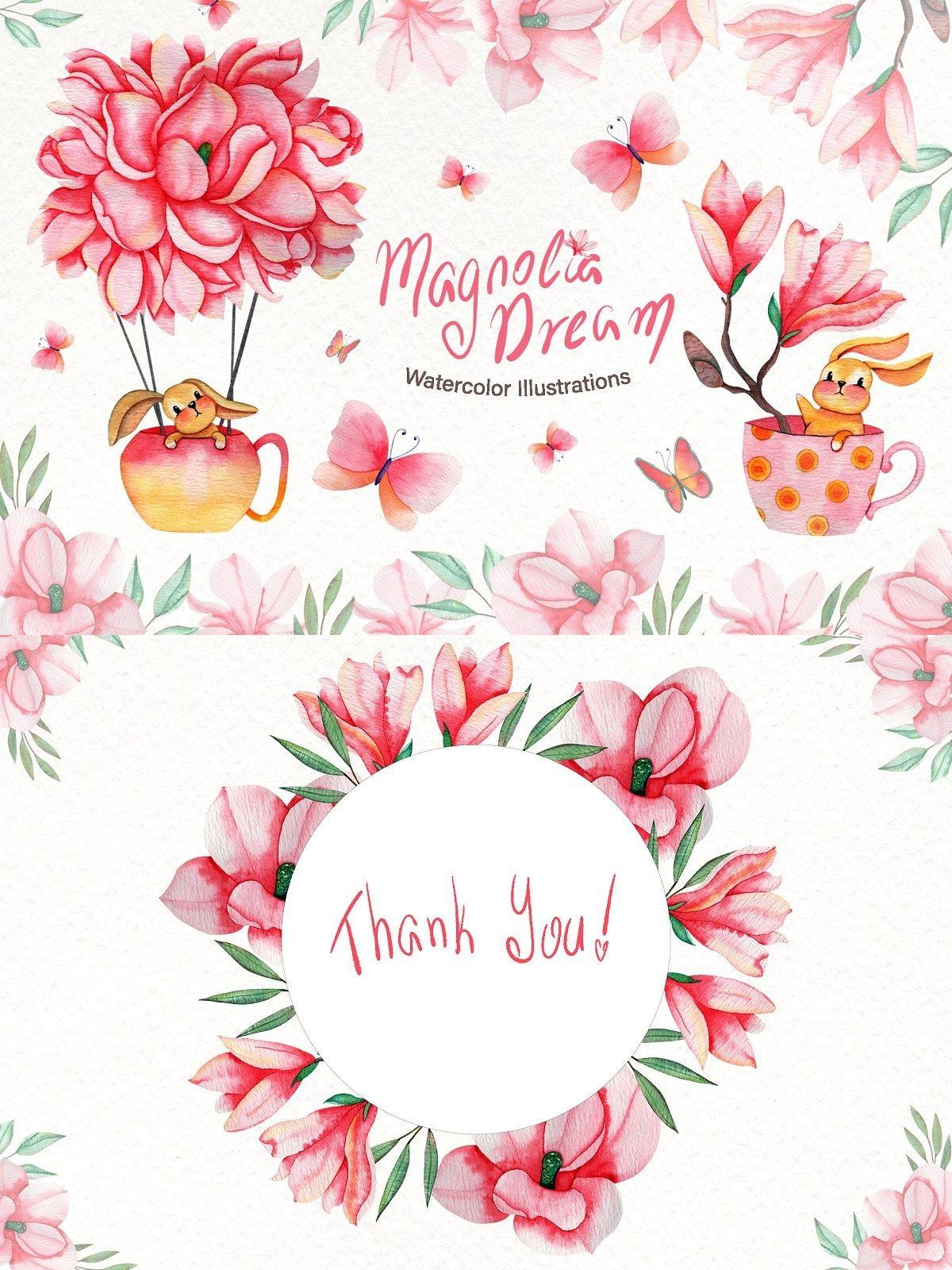 Magnolia Dream Watercolor Watercolor Wedding Clip Art Dream