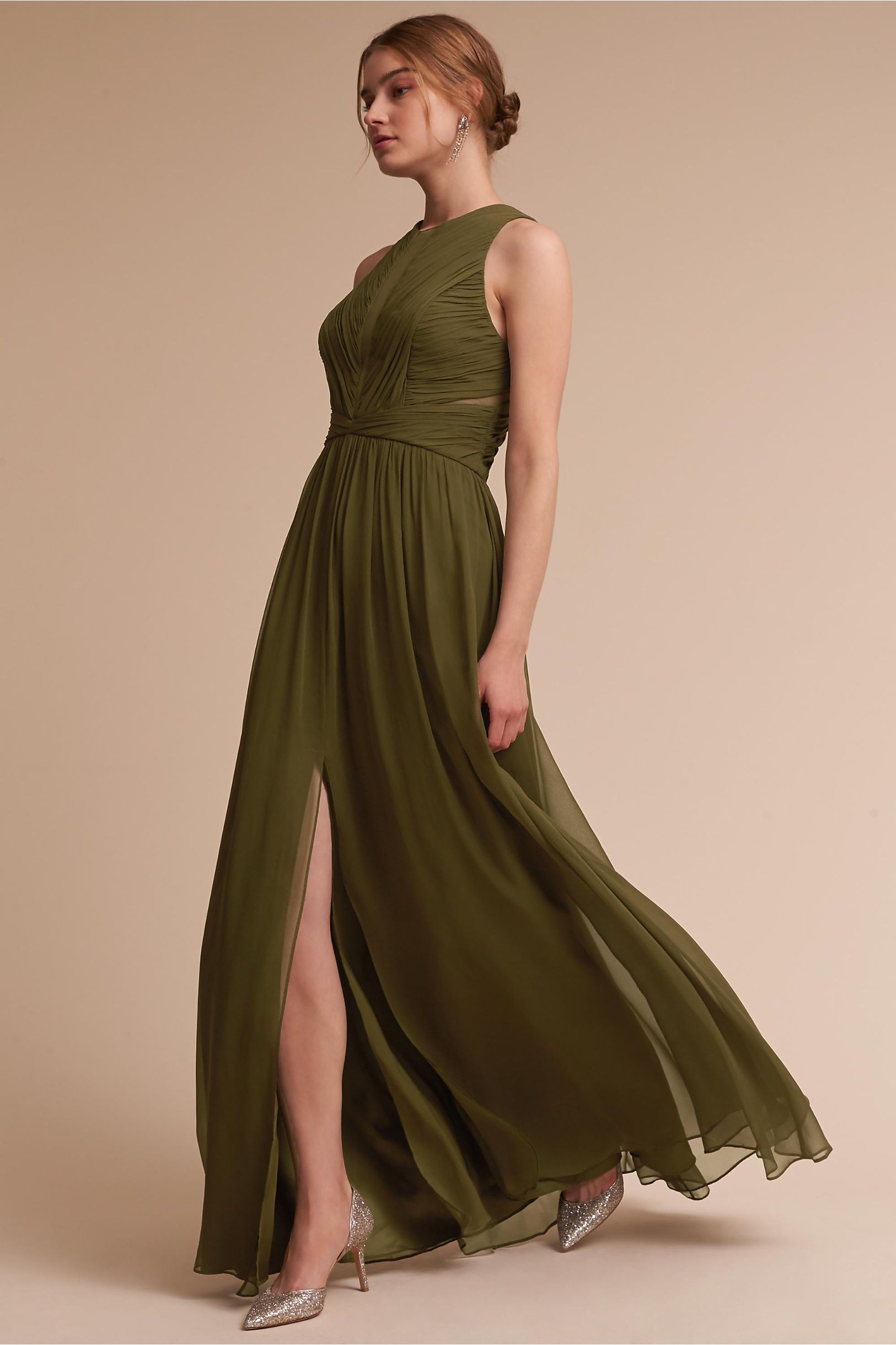 Bhldn S Aurelie Dress In Olive Products Green Wedding Dresses