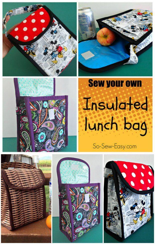 Insulated Lunch Bag pattern | Tasche nähmuster, Nähmuster und ...