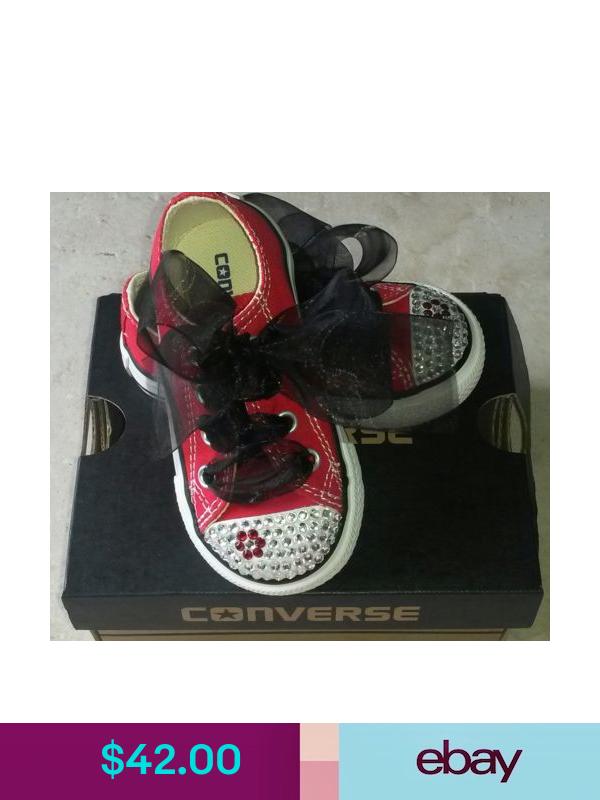 Converse bling diamonds rhinestone Red Flower Crystal 5 6 girl shoes custom NEW