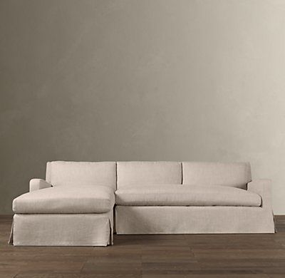 Belgian Slope Arm Slipcovered Sofa Chaise Sectional