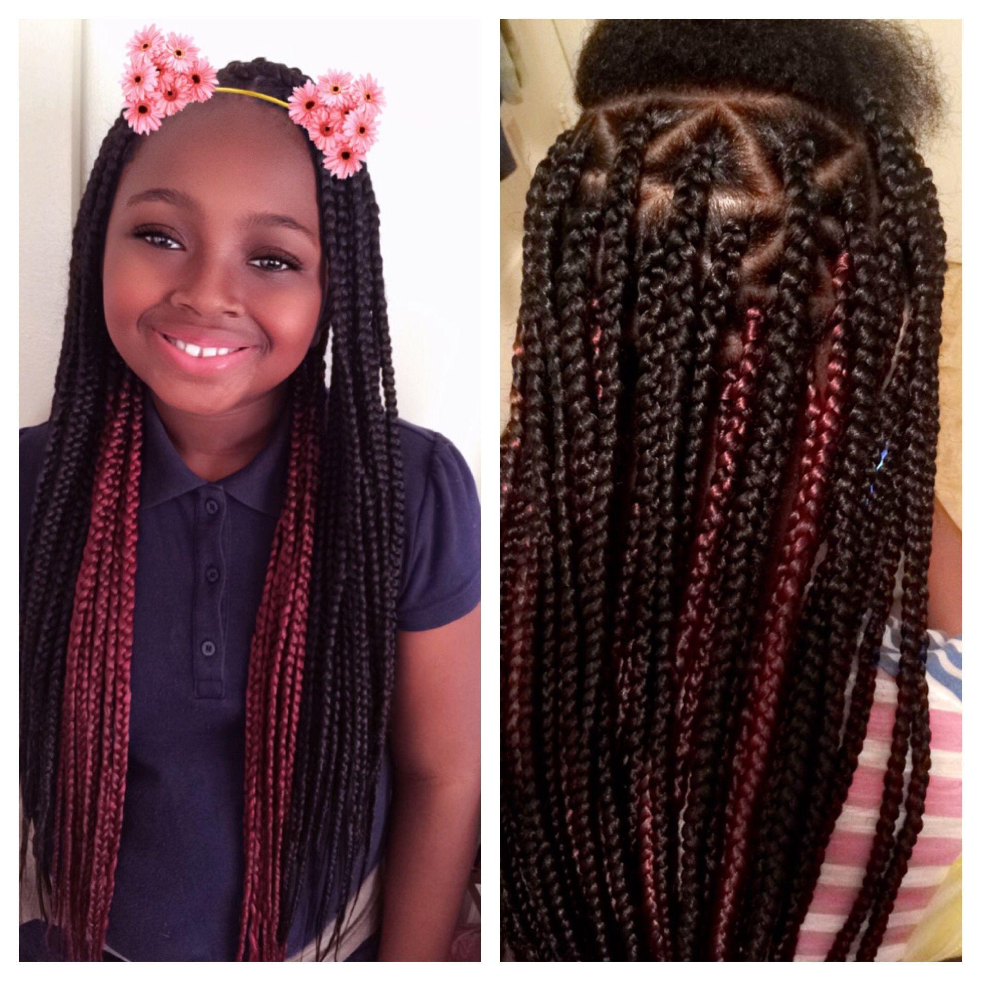 kids box braids. triangle part. red braids. black braids