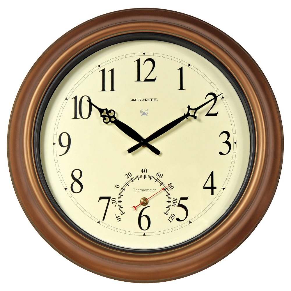 18 Metal Outdoor / Indoor Atomic Clock with Thermometer - Copper ...