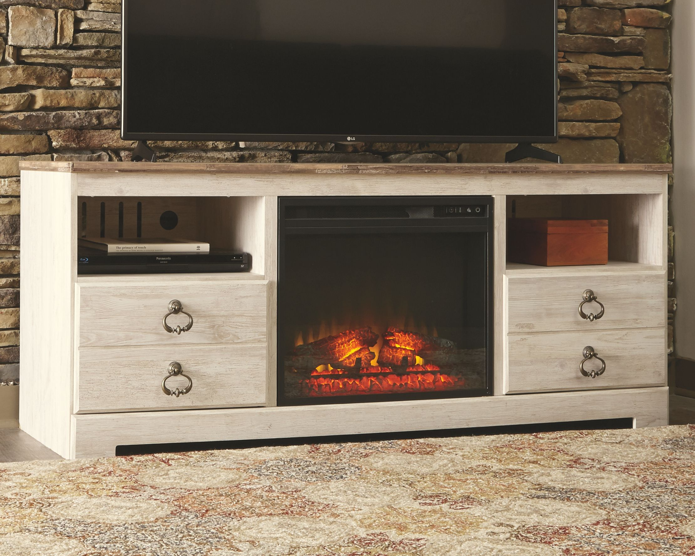 """Willowton 64"""" TV Stand with Electric Fireplace Electric"""
