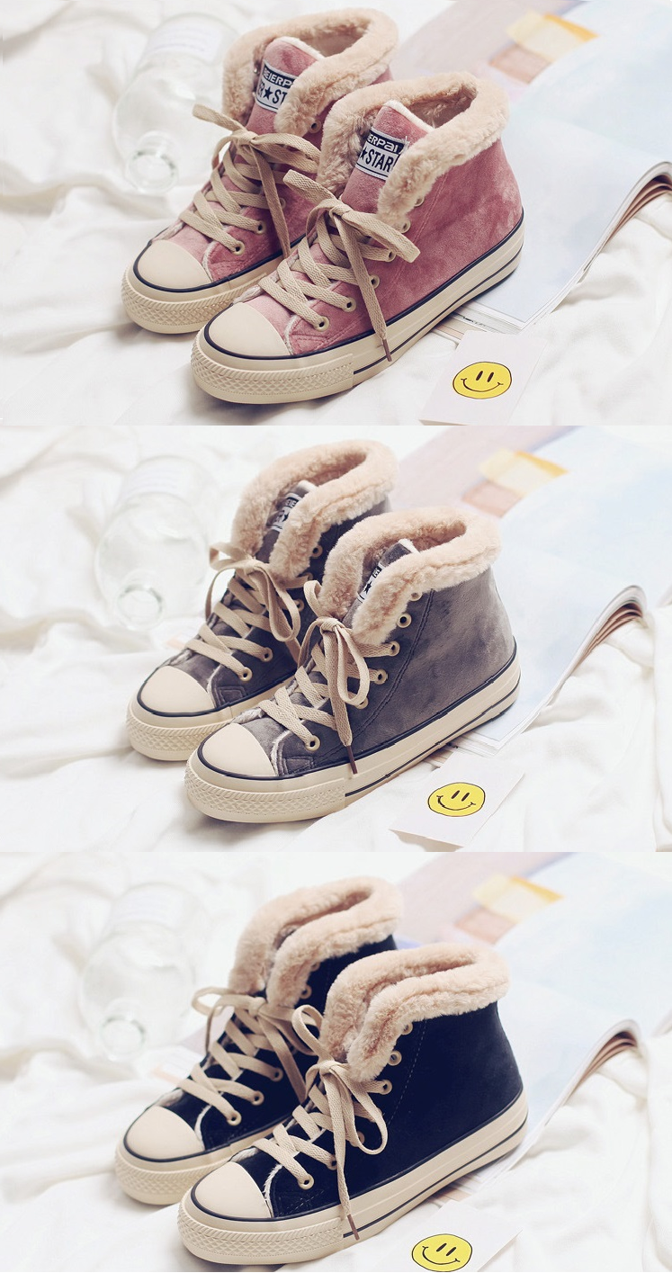 Womens Platform Canvas Snow Sneakers