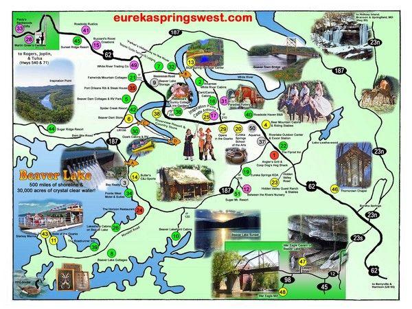 Eureka Springs Arkansas Eureka Springs West Tourist Map Eureka