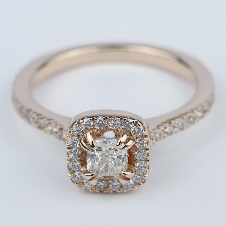 Petite Halo Cushion Diamond Engagement Ring 1 2 Carat Engagement Rings Diamond Engagement Rings Cushion Diamond
